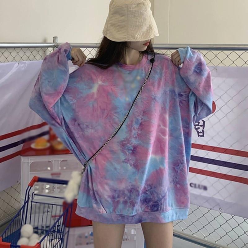 Осенняя свободная футболка Женская Повседневная с длинными рукавами