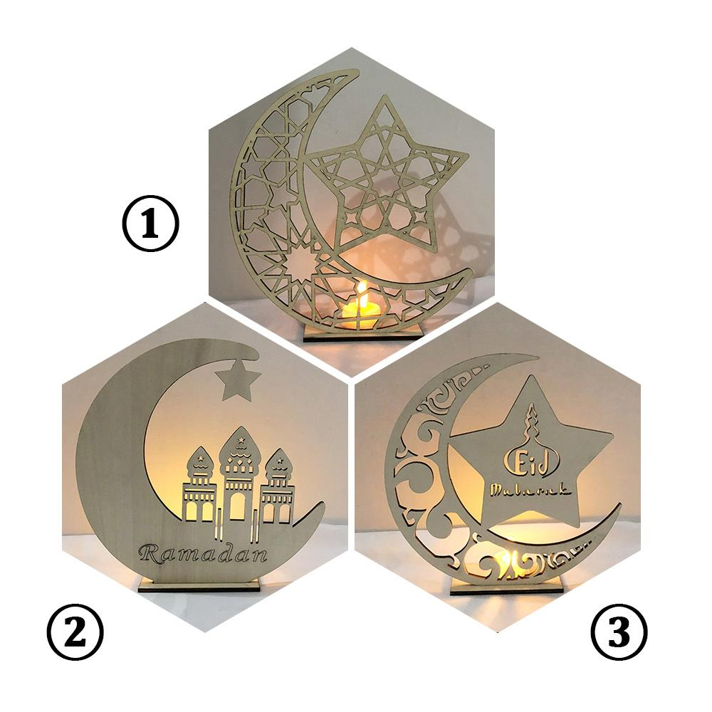 Ramadan Wooden LED Tealight Candles Light Creative Eid Mubarak Home Table Decoration Super Bright Romantic Mosque Crescent