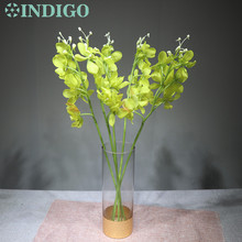 INDIGO 5 Stems Vanda Phalaenopsis Orchid Silk Flower Artificial Wedding Floral Party Free Shipping