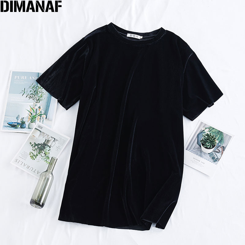 DIMANAF Summer Plus Size Women T-Shirts Loose Casual Lady Tops Tunic Tees Shirts Basic Solid Black Velvet Female Clothing 2020