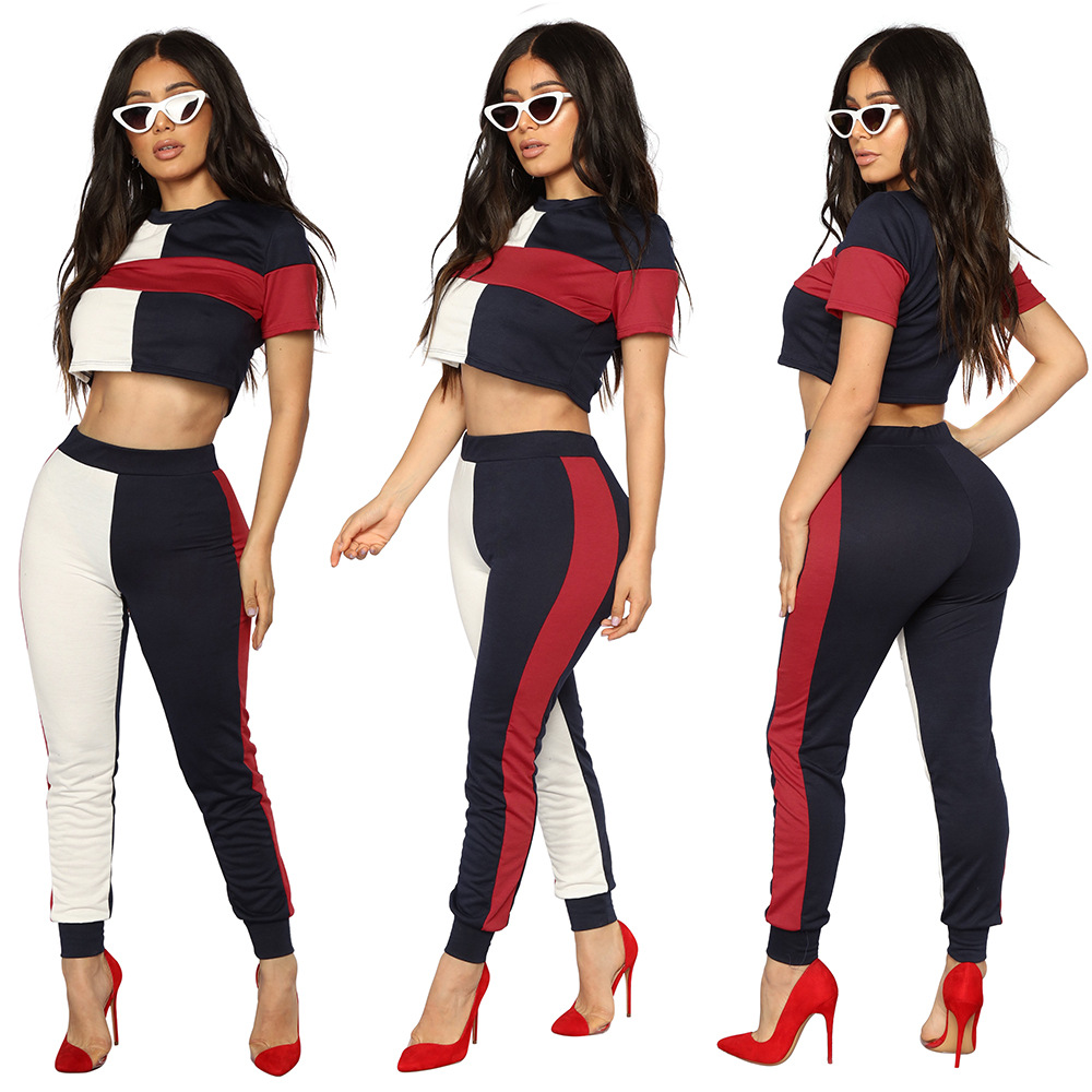 Hot Selling WOMEN'S Dress Europe And America-Crew Neck Short Sleeve Multi-color Mosaic Summer Two-Piece Set S1015