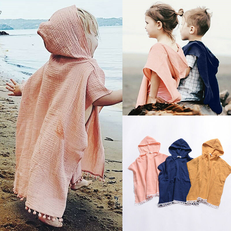 Cute Summer Toddler Kids Baby Girls Boys Boho Long Cardigan Cape Dress Beach Cover Up Solid Casual Kids Hooded Top Blouse