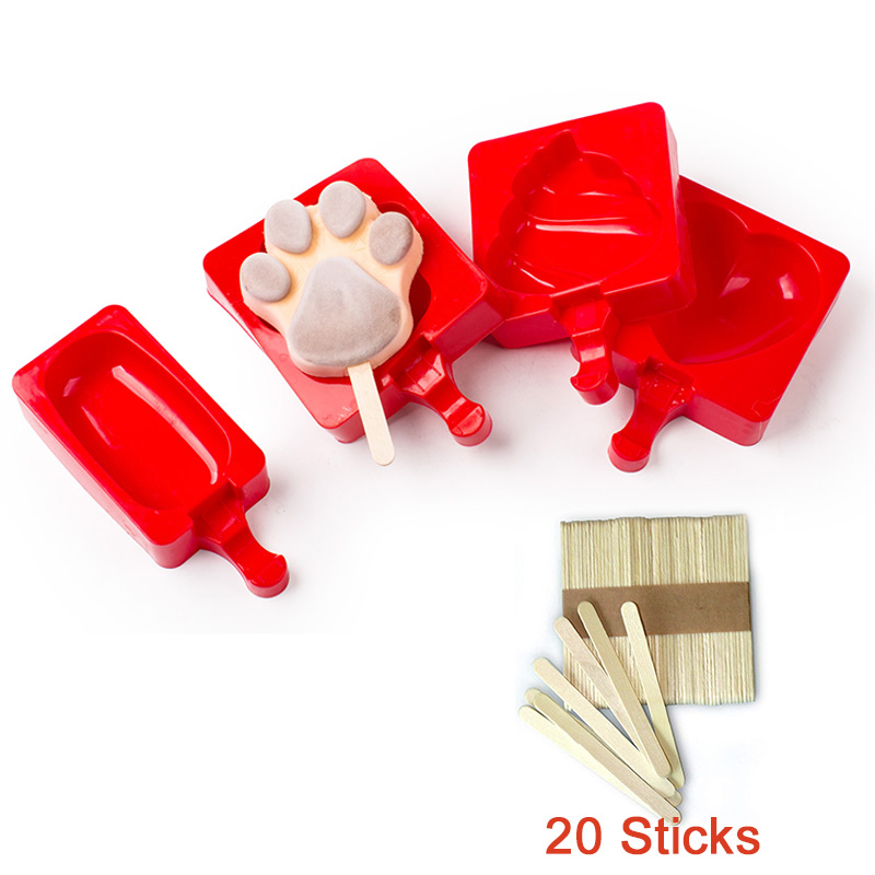 Single Reusable Silicone Ice Cream Mould With 20pcs Popsicle Stick Ice Cube Tray DIY Homemade Kids Toys Ice Mould