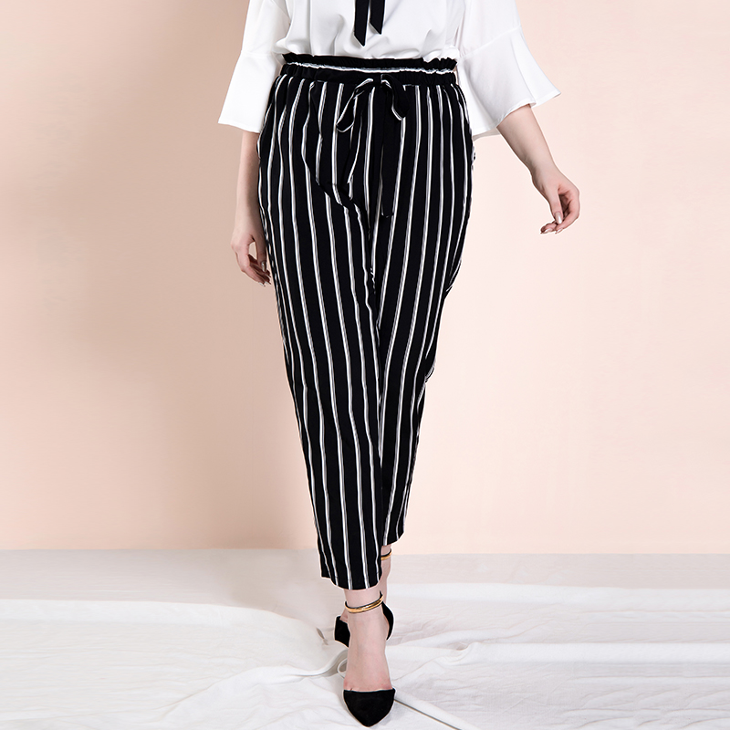 Only Plus Women 2019 Autumn Trousers With Drawstring High Waist Elastic Striped Harem   Pants     Capri   Plus Size Trousers For Women