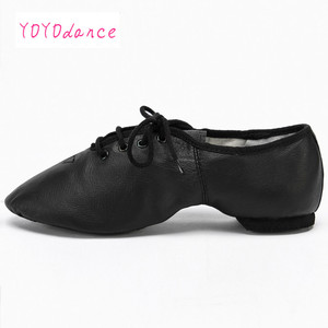 Image 5 - Black Tan Lace Up Geniune Pig Leather Dancing Shoe From Children to Adult Quality Oxford Jazz Dance Shoes