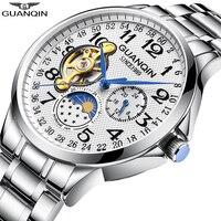 GUANQIN, спортивные автоматические часы, мужские роскошные часы, часы для мужчин, скелет, турбийон, водонепроницаемые механические часы, relogio ...