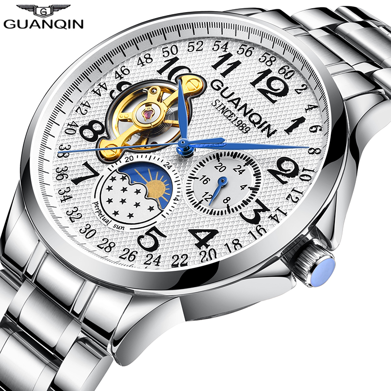 GUANQIN Sport Automatic Watch Men Luxury Watches Clock Men Man Skeleton Tourbillon Waterproof Mechanical Watch relogio masculino