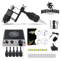 Dragonhawk kit tatuagem completo motor máquina arma de alimentação agulhas apertos