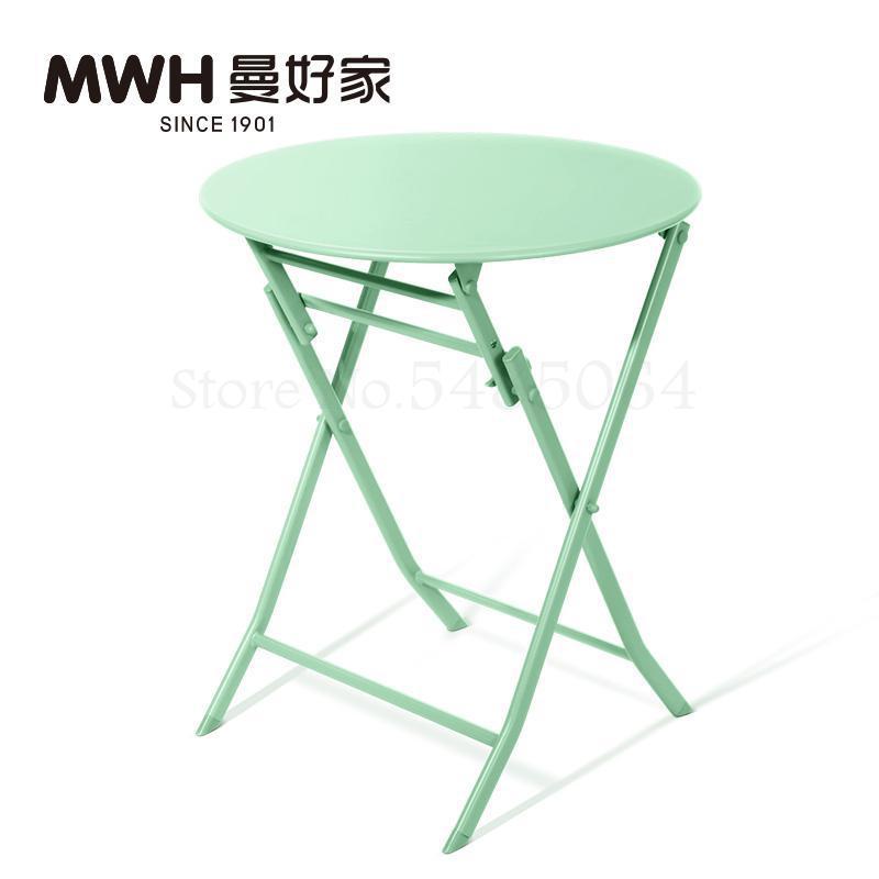 Железный маленький стол, складной небольшой квадратный стол, простой маленький круглый стол, журнальный столик для спальни, маленький обеденный стол для балкона - Цвет: Sparks Fy 4