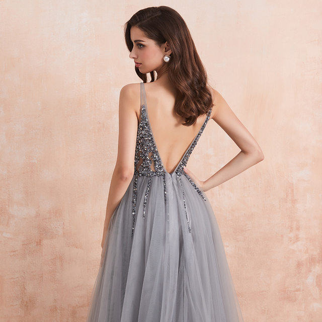 Sexy V-Neck Long Prom Dresses 2020 Beaded Beading Crystal High Splits Backless A-Line Formal Gown Party Dress 5