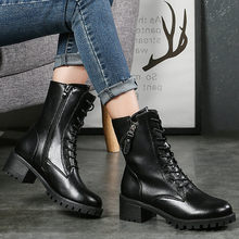 Women's Mid-calf Martin Boots Fashion Leisure Lace-Up Zipper Keep Warm Shoes woman Chunky Square Heels Short Boots botas mujer(China)