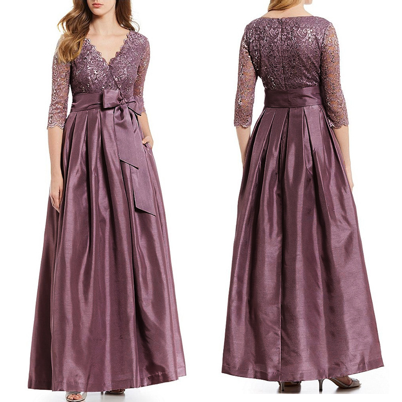 Autumn new style European and American sexy fashion elegant V-neck lace stitching hollow large size dress high quality dress