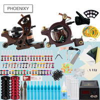 Tattoo Kit Professional 2 Tattoo Machines Set Black Ink Set Power Supply Grips Body Art Tools Tattoo Permanent Makeup Tattoo Set