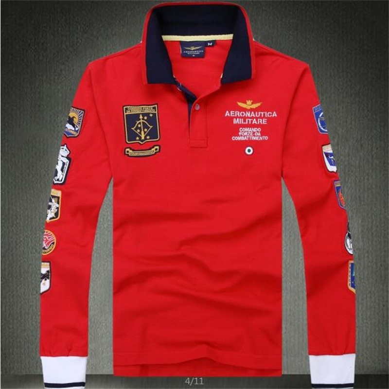 Men RED Air army   Polo   Shirt high quality brands Eagle Embroidered long sleeve lapels air force one knit cotton military Tees