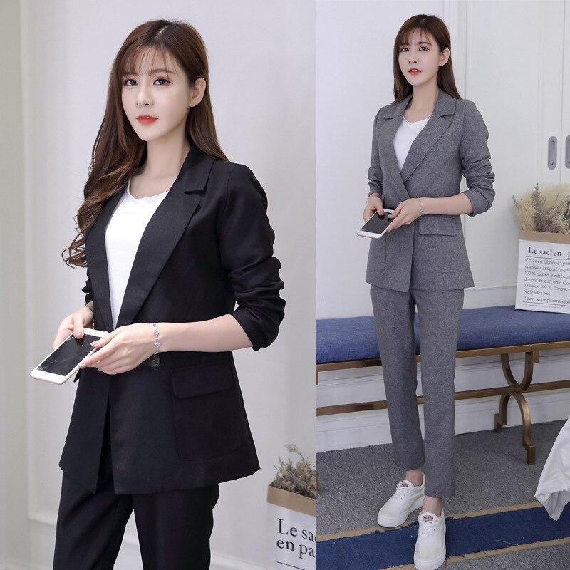 Ladies Suits Autumn And Winter New Fashion Casual Wild Slim Suit Elastic Waist Pants Temperament Women's Two-piece Suit