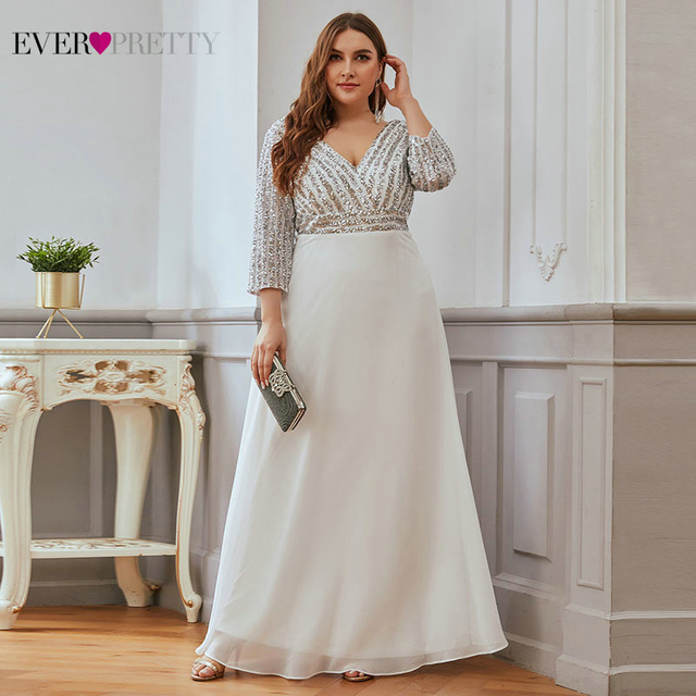 Plus Size Sequined Evening Dresses Ever Pretty 3/4 Sleeve A-Line Double V-Neck Elegant Sparkle Party Gowns Abiye Gece Elbisesi 3