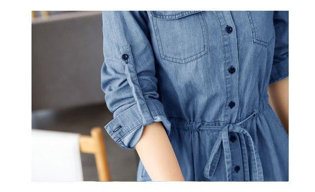 AYUNSUE Woman Dress 2020 Spring Summer Denim Dress Elegant Slim Jurken Long Sleeve Shirt Dresses For Women Vestiti Donna KJ094 5