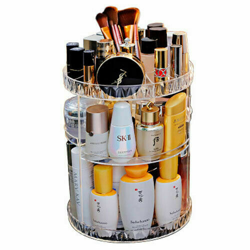 360° Rotating Cosmetic Makeup Case Organizer Swiveling Storage Box Shelf Display Lipstick Perfumes Holder Home Storage