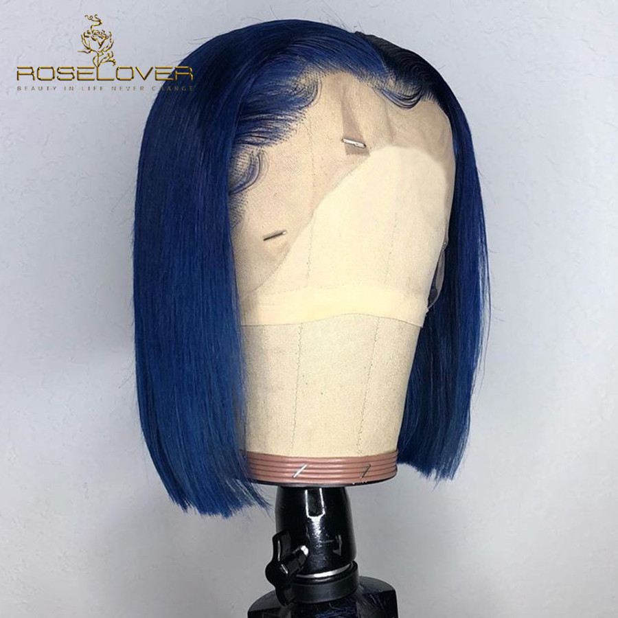 Blue Straight Bob Wigs High Ratio Deep Part 13*6 Lace Front Human Hair Wigs Pre Plucked With Baby Hair Lace Wigs Peruvian Remy