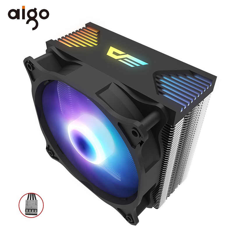 Aigo Cpu Koeler Stille Pwm Fan 120 Mm Sync Met Rgb Verlichting 4 Heatpipes Cpu Cooling Tdp 180W Radiator voor LGA775/1150/AM3/AM3 +