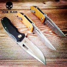 203 مللي متر 100% D2 شفرة الكرة تحمل السكاكين للطي الأبيض شفرة سكين سكين تخييم G10 مقبض EDC أداة