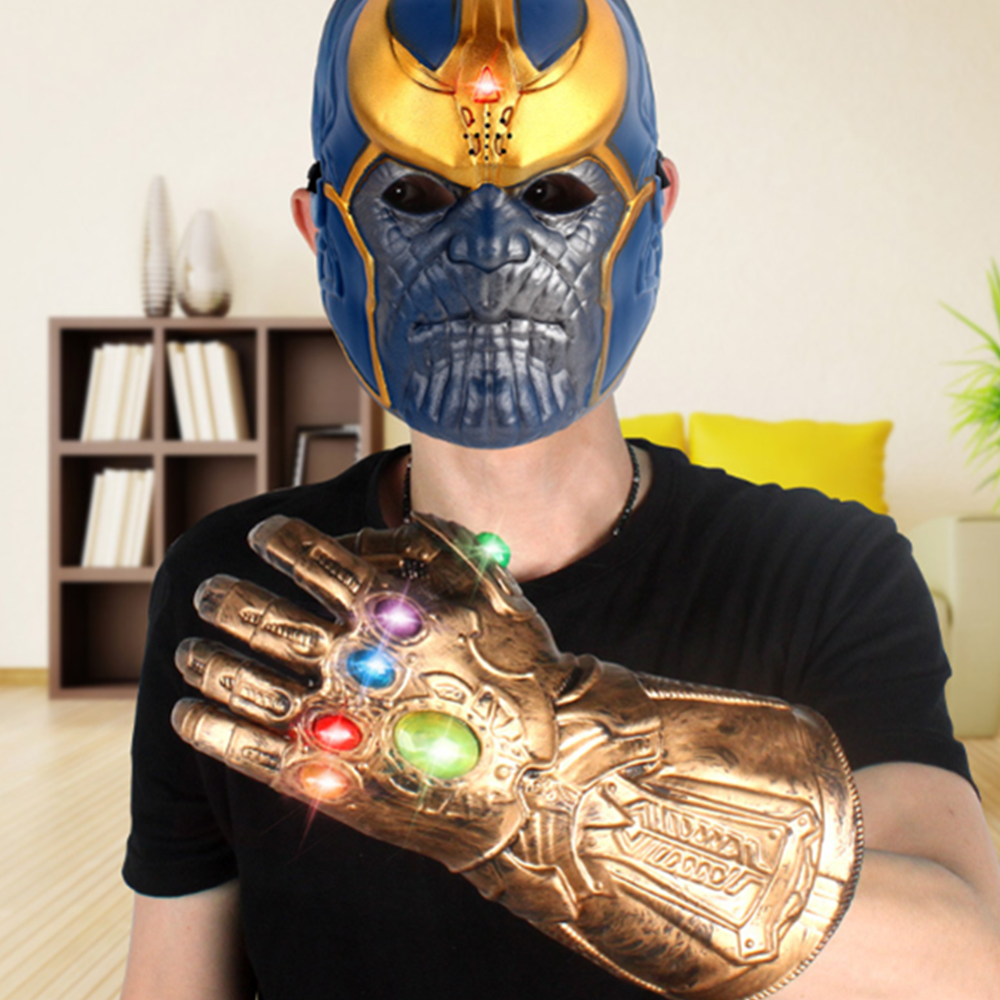 Avengers Thanos Gauntlet Mask Movies Golden Plastic Action Cosplay Model Toys Halloween Collector Juguetes Doll Anime Figures