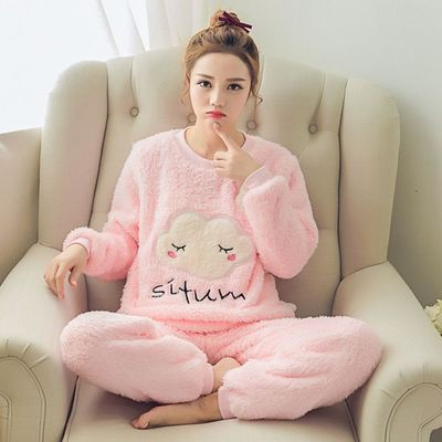 Coral Velvet Korean-style Sweet Gray Pajamas Less Women's Autumn And Winter Cartoon Cute Cloud Flannel Set Home Wear