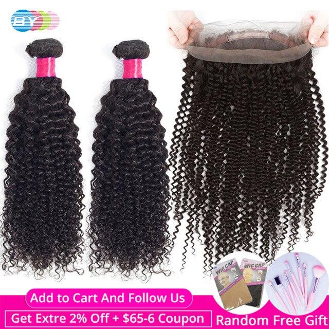 על ידי 360 חזיתי עם חבילות קינקי מתולתל חבילות עם פרונטאלית שיער טבעי 2 חבילות עם תחרה פרונטאלית סגירת רמי הארכת שיער