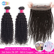 BY 360 Frontal With Bundles Kinky Curly Bundles With Frontal Human Hair 2 Bundles With Lace  Frontal Closure Remy Hair Extension