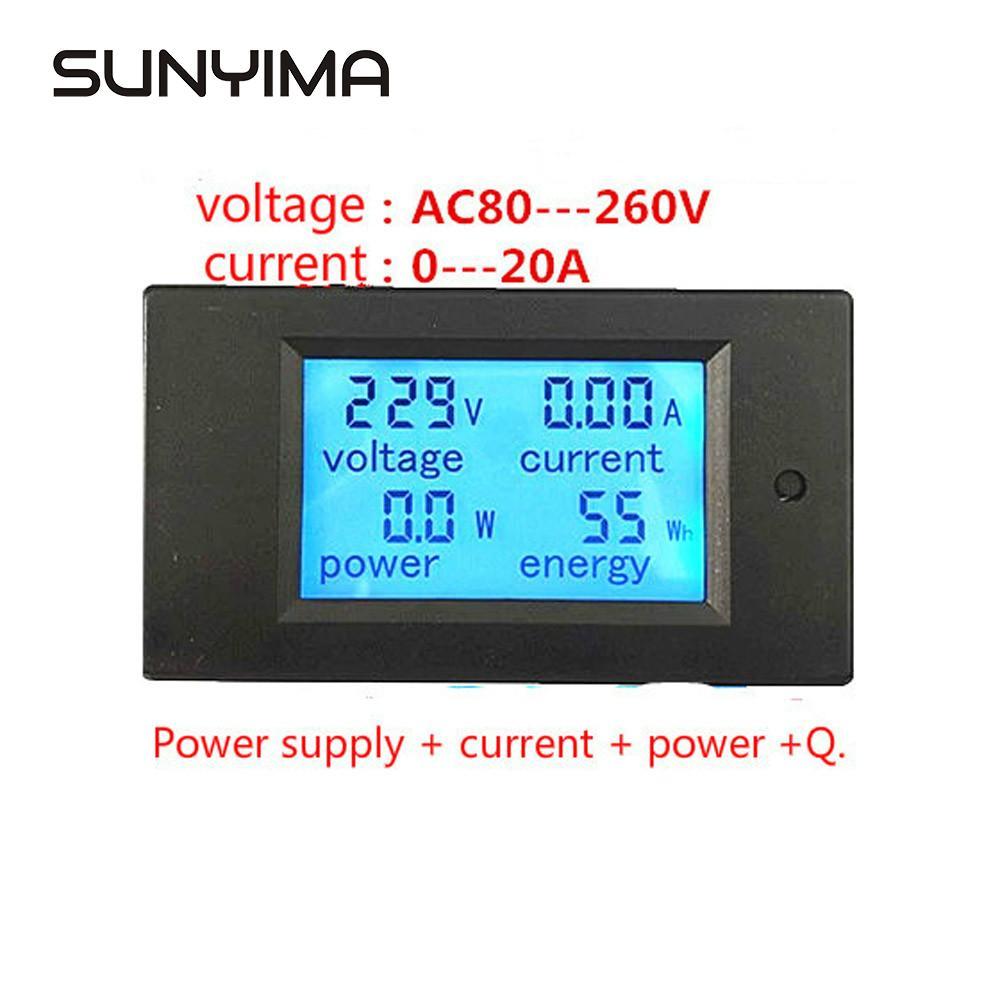 New 20A AC Digital LED Power Panel Meter Monitor Power Energy Voltmeter Ammeter