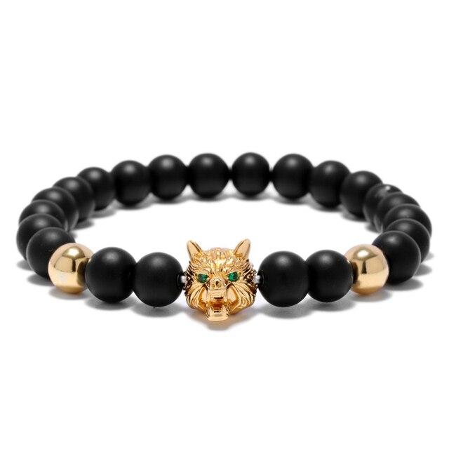 Bracelet tête de loup Viking Onyx perles brin  3