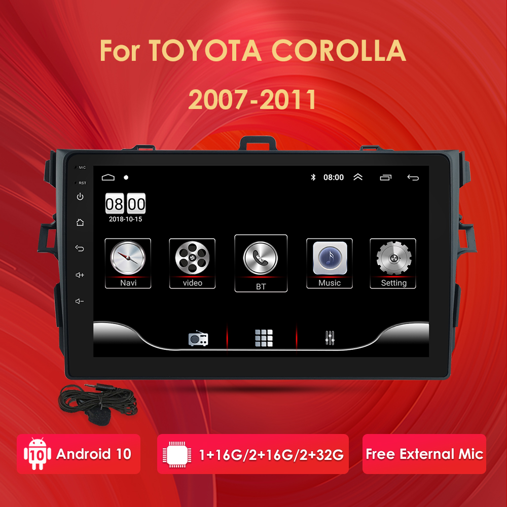 2 Din Android 10 2GB RAM 32GB ROM Car Radio Multimedia Player For Toyota Corolla 2007 - 2011 2014 - 2016 support BT WIFI&4G SWC(China)