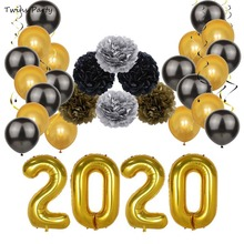 Twins Party happy new year 2019 Christmas Foil Ballon Decoration 2020 Balloons Happy New Year Letter Eve Decor