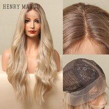 HENRY MARGU-Peluca de cabello sintético para mujer, cabellera artificial con malla frontal, parte media, color marrón, Rubio degradado, Ondulado Natural larga, resistente al calor, uso diario