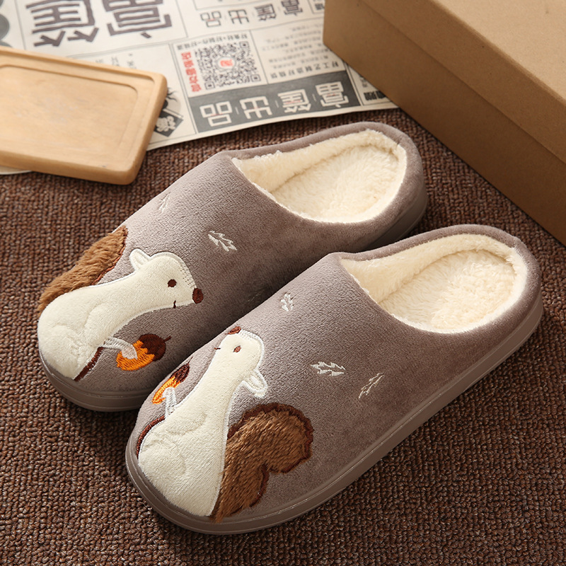 Cute Squirrel Women Winter Home Slippers Cartoon Animal Soft Winter Warm House Shoes Men Women Girl Boys Indoor Bedroom Slippers 5