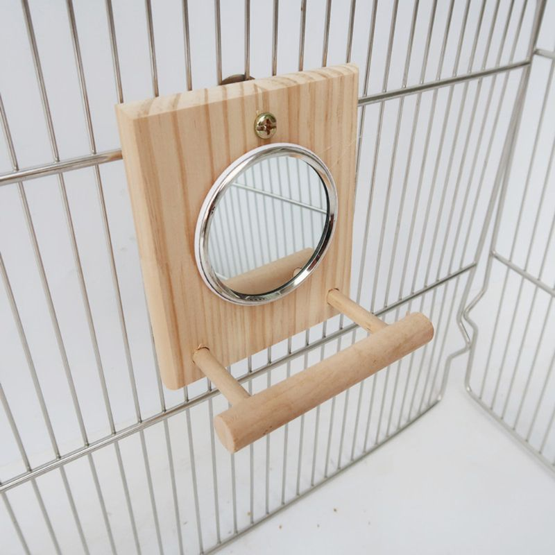 Купить с кэшбэком Bird Mirror with Wooden Perch Fun Platform Stand Wooden PlayToys for Parrots