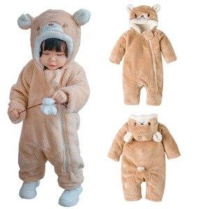 Комбинезон для новорожденных 0-24 месяцев, зимняя детская одежда для ползания, верхняя одежда, комбинезон, хлопковое пальто для малышей, утеп...