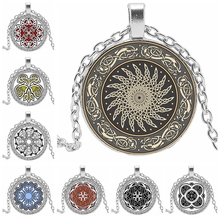 2019! New Hot Sale Kaleidoscope Pattern Series Glass Convex Round Necklace Pendant Banquet Jewelry Gift