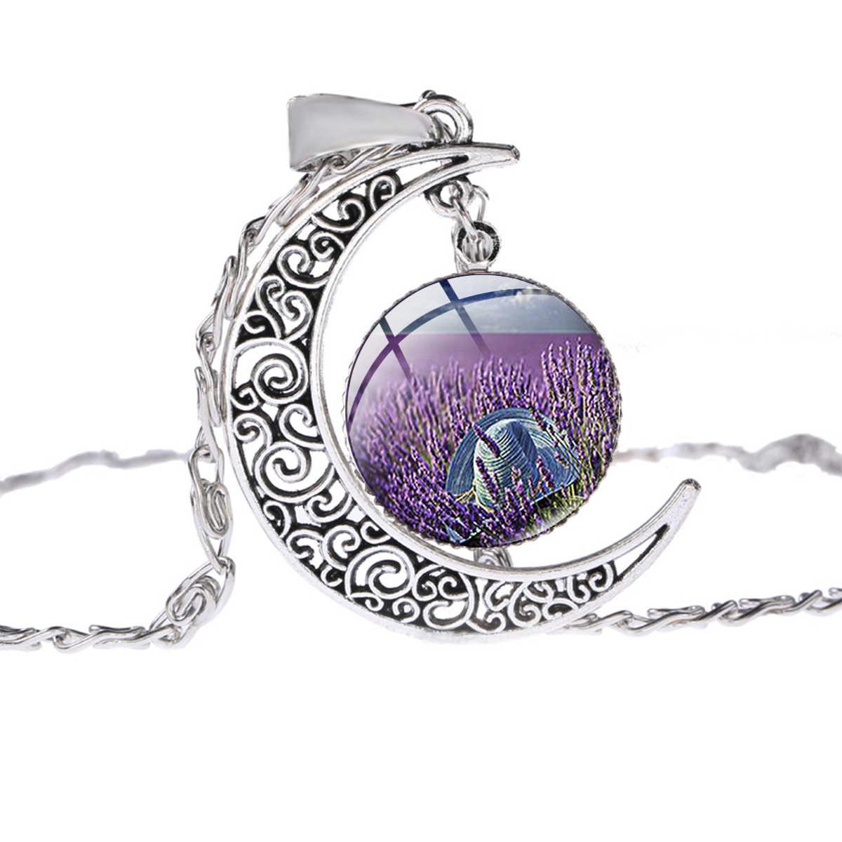 SONGDA Boho לבנדר שדה נוף שרשרת יד קרפט זכוכית כיפת תמונה ירח תליון כסף שרשרת תכשיטי מתנה נשים בנות