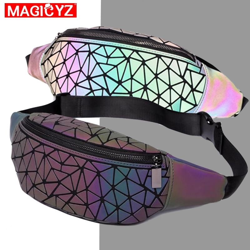MAGICYZ Fashion Luminous Waist Bags Women Waist Fanny Packs Belt Bag Unisex Men Leather Chest Handbag Geometry Waist Packs