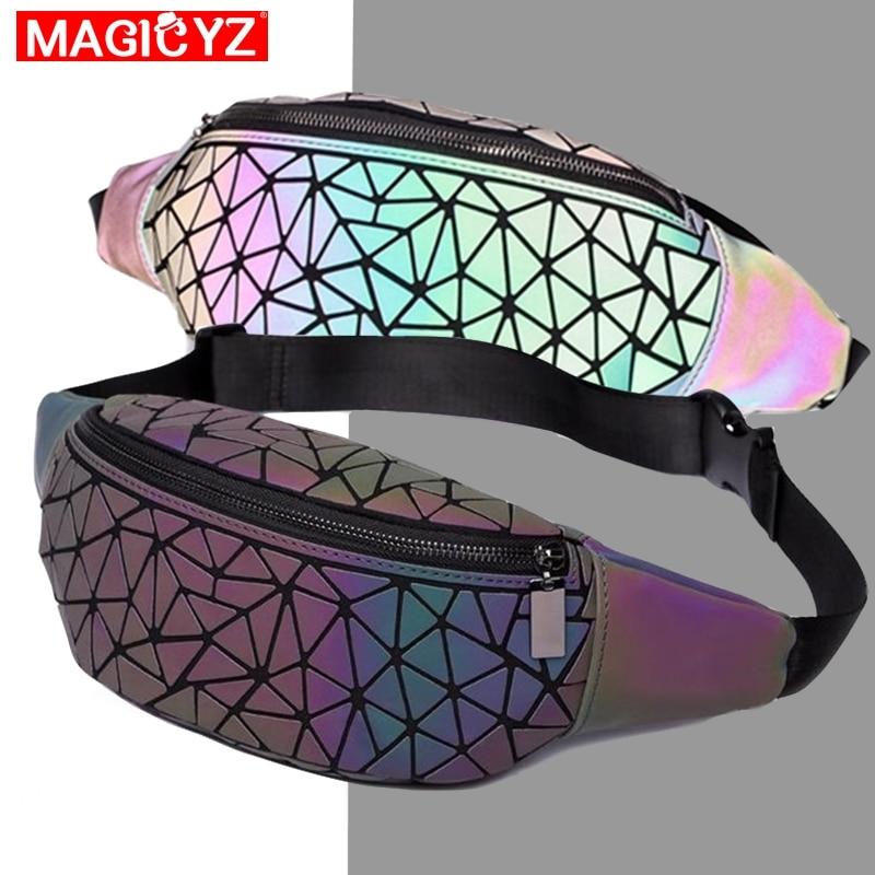 MAGICYZ Fashion Luminous Waist Bags Women Waist Fanny Packs Belt Bag Unisex Men Leather Chest Handbag Geometry Waist Packs