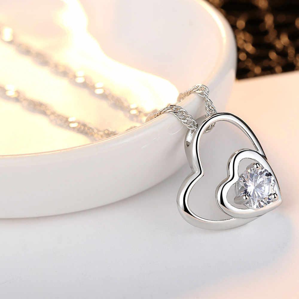 רסיס קריסטל שרשרת כפולה לב תליון אהבת לב שרשראות חתונה נקבה תכשיטי עבור בנות dropshipping