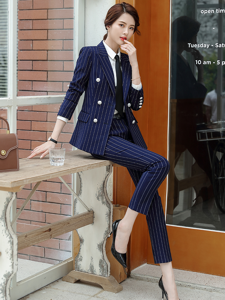 Lenshin High Quality 2 Piece Set Striped Formal Pant Suit Soft and Comfortable Blazer Office Lady Uniform Designs Women Business 26