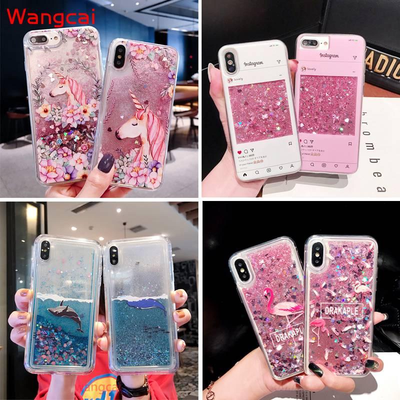 Unicorn Liquid Case For Samsung Galaxy A8 A6 J4 J6 Plus J6+ 2018 Cover Quicksand Dynamic Case For A20e J2 Pro J4 Core 2018 Case