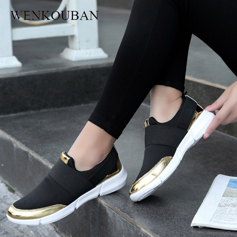 Fashion Sneakers Ladies Trainers Women Casual Shoes Slip on Loafers Basket Femme Vulcanized Shoes Tenis Feminino 2019 Plus Size