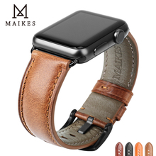 MAIKES Genuine Leather Watch Strap Replacement For Apple Watch 44mm 42mm 40mm 38mm Series 4/3/2/1 iWatch Watchband