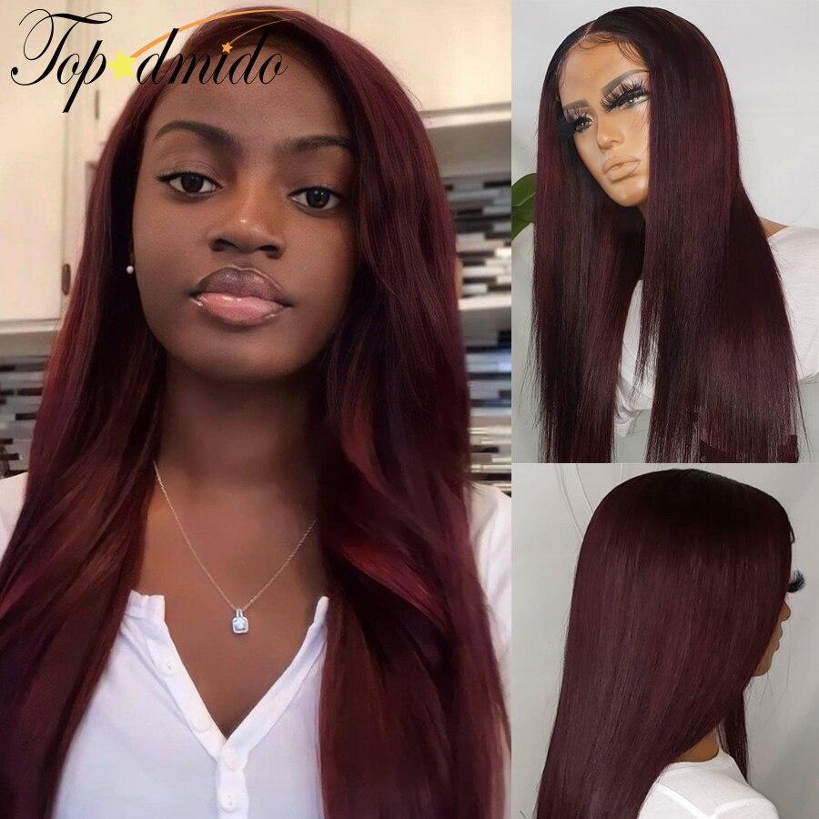 Topodmido темно-красный цвет 99j Цвет Синтетические волосы на кружеве парики с детскими волосами 13x6 прямые парики из натуральных волос на кружевн...