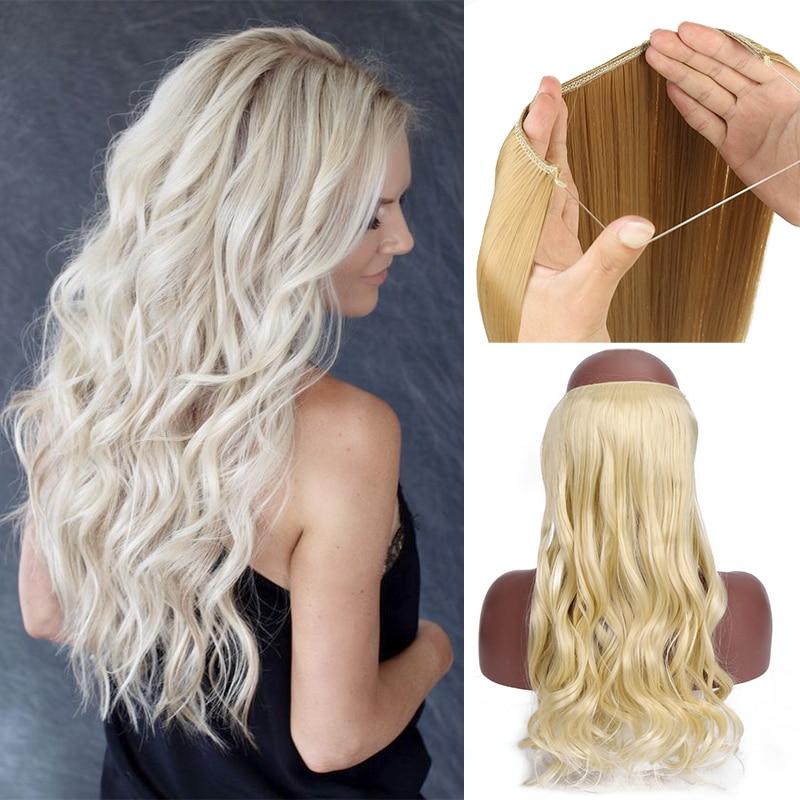 Синтетический парик омбре балаяж, невидимый удлинитель без зажимов, с натуральными скрытыми секретными волосами в форме короны, серые и роз...