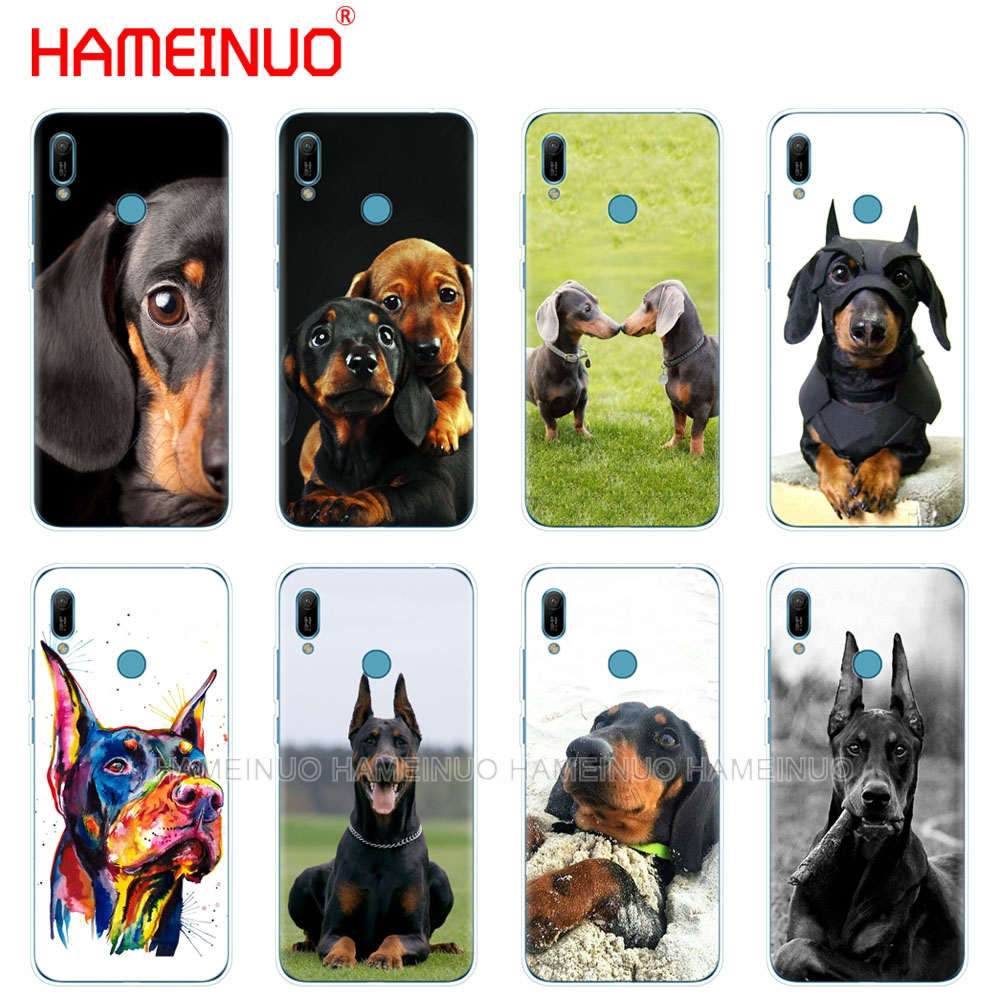 silicon phone cover <font><b>case</b></font> for <font><b>huawei</b></font> Y5 Y6 <font><b>Y7</b></font> Y9 PRO PRIME <font><b>2019</b></font> honor 8s 8a 20 LITE PRO 10i view 20 V20 Dachshund Doberman <font><b>Dog</b></font> image