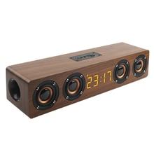 나무 휴대용 시계 무선 블루투스 스피커 스테레오 PC TV 시스템 스피커 데스크탑 스피커 사운드 포스트 FM 라디오 컴퓨터 Speake